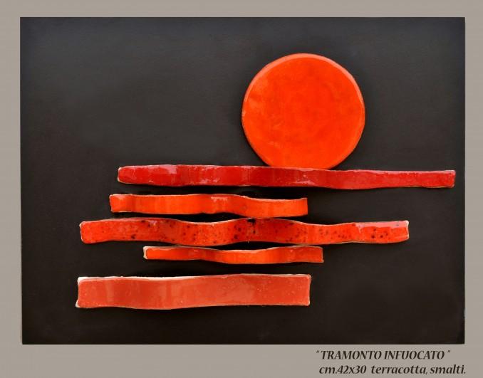 """""""TRAMONTO INFUOCATO"""" cm. 42x30 - terracotta, smalti"""