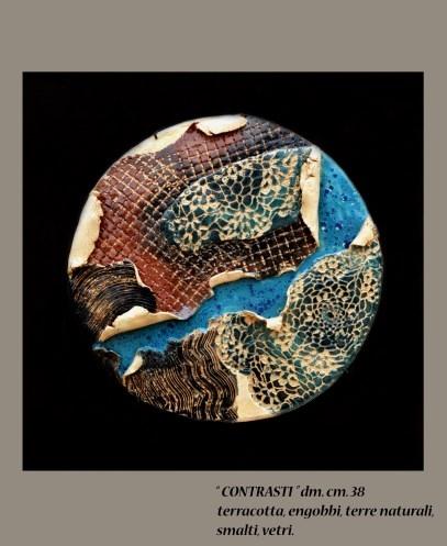 """""""CONTRASTI"""" dm. cm. 38 - terracotta, engobbi, terre naturali, smalti, vetri"""